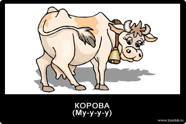 Голос коровы, му-у-у, звуки животных для детей