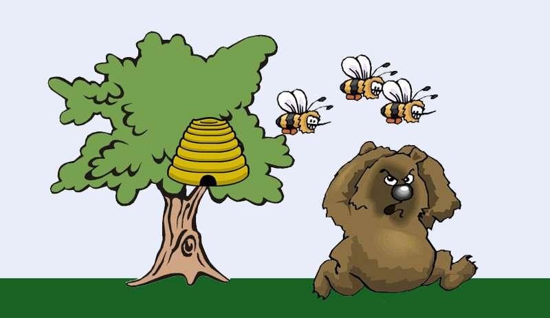 Медведь убегает от пчел, рисунок картинка иллюстрация