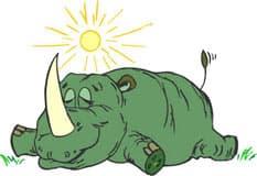 спящий носорог, клипарт