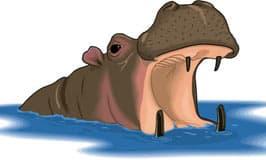 бегемот в воде, клипарт