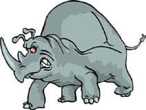 злой носорог, клипарт
