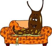 слизень лежащий на диване, клипарт