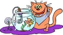 кот готовит рыбку в аквариуме, клипарт