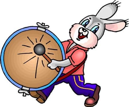 Кролик играет на барабане