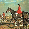 рис 14. картина Алфреда Муннингса 'Охотники с лошадьми', фото фотография, лошади кони