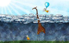 Жираф и дети,  фотография  обои