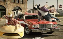 Коровы, бегущие за парнем-гамбургером обои