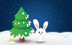 Заяц около новогодней ёлки
